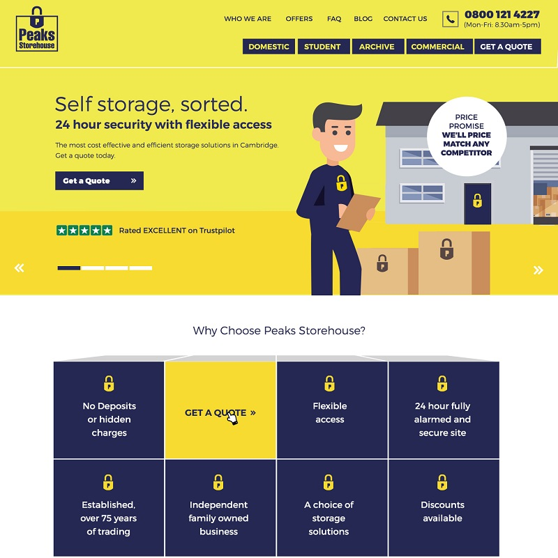 Peaks Storehouse custom website build